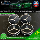 4 Mercedes-Benz Flat Black Wheel Center Hub Caps Emblem 75MM AMG C E G ML S SL