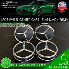 4 Mercedes-Benz Flat Black Wheel Center Hub Caps Emblem 75Mm Amg C E G Ml S Sl (Fits: Mercedes-Benz)