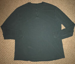 Lululemon Mens Sz 2XL Long Sleeves Henley Jersey T-Shirt Dark Green FREE SHIP