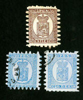 Finland Stamps 3 rouletted mint and used w/ large teeth