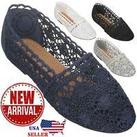 NEW Women's Lace Flat Shoe Floral Breathable Crochet Lace Ballet Flats
