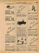 1961 ADVERT Faircraft Toy Pedal Car Jeep Jeepster Sportscar Kit
