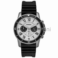 Fossil Original FS5240 Men's Grant Sport Black Silicone Watch 44mm Chronograph