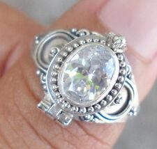 925 Sterling Silver Balinese Poison Locket Ring W White Zircon Size 8-Rl01