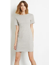 Warehouse Ottoman Fitted Stripe Ribbed Dress Size 18 Uk BNWT RRP £38 Grey White
