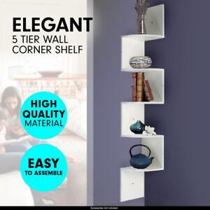 Sarantino Corner Wall Shelf Display Shelves Book Rack Floating Mounted White
