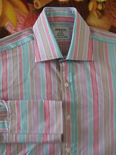 "T M LEWIN 'Lewin 100' Men's Multi Stripe Formal Shirt 15.5"" 39cm D/Cuff"