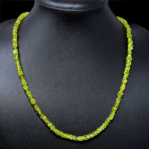 110.00 Cts Natural Green Peridot Round Shape Faceted Beads Necklace NK 29E64