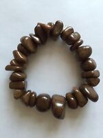 Brown Colour semi precious Stone Agate chip Stretch Bracelet