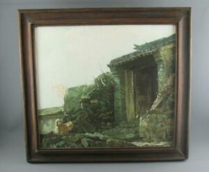 ZHOU YU LIN (Chinese 20th C.) Oil Painting on Canvas Dog by an Old Village House