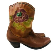 L'Artiste Aster By Spring Step Women's Size 11 Leather Boots Floral Rose Brown
