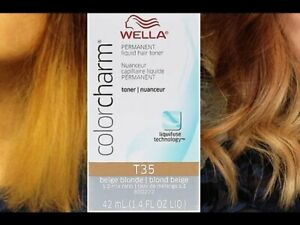 2 Wella Color Charm Permament Liquid Hair Color Toner 42mL Pale Beige Blonde T15