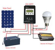 Intelligent 20A MPPT Solar Panel Charge Controller 12V/24V LCD Battery Regulator