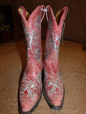 NEW CORRAL R2459 Womens 6.5M Cross & Rose Cut Out Leather Snip Toe Western Boots