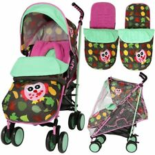 iSAFE Stroller - Leaf and Owl Complete With Footmuff Head Hugger Rainco