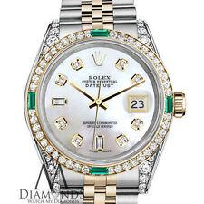 Ladies Rolex Steel & Gold 26mm Datejust Watch White MOP Diamond Emerald Dial