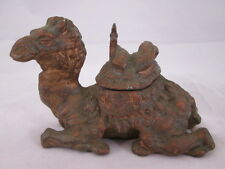 Vintage Early 20th Century Cold Painted Spelter Camel Inkwell