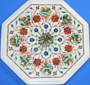 14 Inches Marble Inlay Table Top Floral Pattern Handmade Office Coffee Table