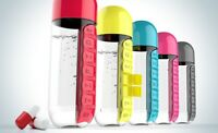 2 in 1 Water Bottle with Built-In 7 Day Pill Organizer For Pill Box Vitamins Box
