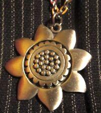 "Vintage '60's Pewter R TENNESMED Sunflower Pendant 26"" chain Mid Century Modern"