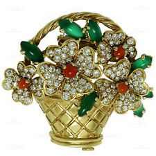 Rare Vintage  VAN CLEEF & ARPELS Diamond  Coral Chalcedony Gold Bouquet Brooch