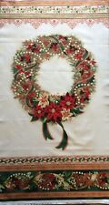 QUILTING  PANEL  -  'HOLIDAY  FLOURISH' - CHRISTMAS  WREATH