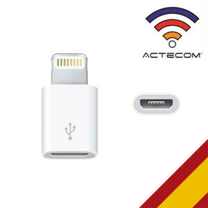 ACTECOM® ADAPTADOR CABLE MICRO USB A iPHONE LIGHTNING  MINI BLANCO IPHONE 7 8 X