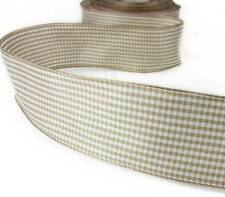 "5 Yds Beige Tan Taupe Brown White Mini Check Gingham Wired Ribbon 1 1/2""W"