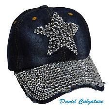 Cappello berretto cappellino con visiera da donna strass jeans blu estivo cotone