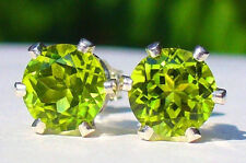 NEW Sterling Silver EARRINGS 6mm 1ct each Vivid Green Pakistani Kashmir PERIDOT