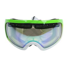 New Ski Winter Goggles Bright Green+white Frame Clear Dual Lens Adult Anti-Fog