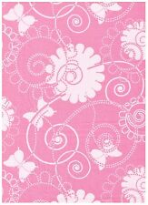 Fantasy Wings Pink Tonal Floral Scroll Butterfly bty PRICE REDUCED