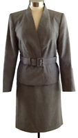 Tahari Gray Wool Blend Skirt Suit SZ 12 Belted Jacket Stylish Career Womens