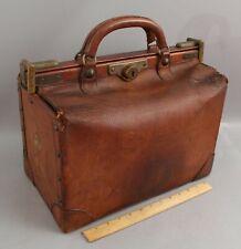 RARE c.1890 Antique Brown Epi Leather LOUIS VUITTON Gladstone Valise Luggage Bag
