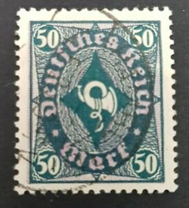 RRR Quatrefoil (see pic's) Watermark German Empire 50 Mark Posthorn stamp