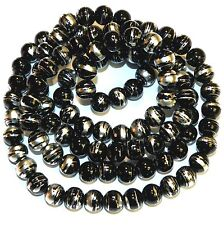 G1772L Black Opaque 8mm Round Silver Swirl Metallic Drawbench Glass Beads 32""