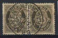 Norway 1909-19, NK 106 Pair Son sw Drammen Bragerøen 5-VI-1925 (BU-Grade 5)