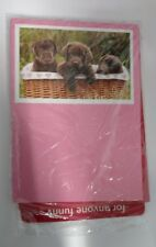 4/Pack - Valentines Day Cards - Dogs In A Basket (For Anyone) Includes Envelopes