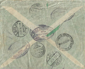 1936 ARGENTINA TO AUSTRIA REGISTERED COVER WITH SEVERAL POSTMARKS