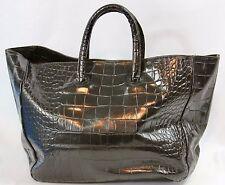 FURLA Giselle Onyx Black Leather Tote Bag Handbag Purse Croc Embossed Italy