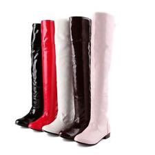 Womens Patent Leather Over Knee high boots Pull On Cosplay Riding dace shoes