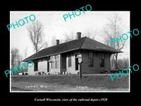 OLD POSTCARD SIZE PHOTO OF CORNELL WISCONSIN THE RAILROAD DEPOT STATION c1920