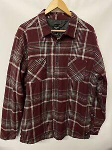 NWT Mens Quicksilver Flannel Ski Jacket XL Burgundy Plaid Regular Fit