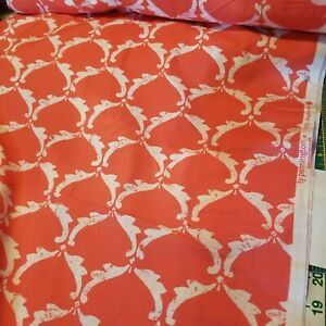 """BTY Ty Pennington Impressions ANGEL WINGS Salmon/White COTTON Fabric 44"""" w TY01"""
