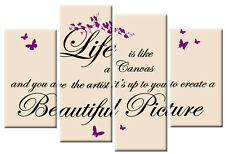 LIFE IS LIKE A CANVAS QUOTE PURPLE CREAM BLACK PICTURE  MULTI  WALL ART 100cm