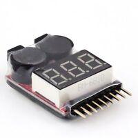 1S-8S Lipo/Li-ion/Fe Battery Low Voltage Meter Tester & Buzzer Alarm