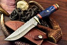 Rare!!! Custom Handmade Damascus Steel Blade Hunting Bowie Knife | Hard Wood