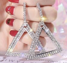 Wedding Festival Triangle Party Boutique Silver Crystal Bling Fashion Earring