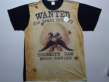YOSEMITE SAM WANTED POSTER FULL PRINT t shirt sz XL NEW cartoon cowboy outlaw