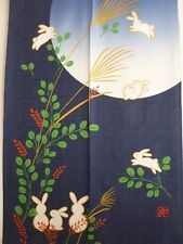 "Japanese Noren 33""W x 59""L 2-Panel Curtain Doorway ""Usagi""Rabbit"